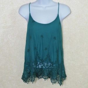 EO Pins and Needles Teal Lace Layered Tank Top